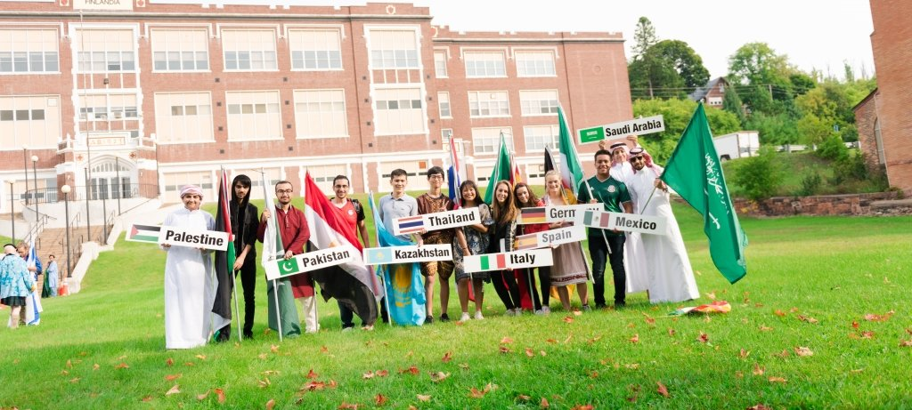 students from different countries at the parade of nations