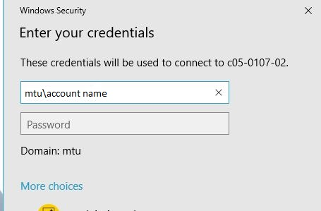 enter your account information in the credentials window