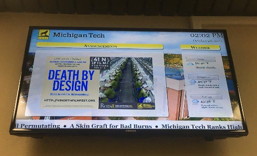 Electronic Display System (EDS) screen showing Michigan Tech information.