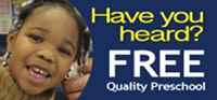 Have you heard? Free quality preschool button
