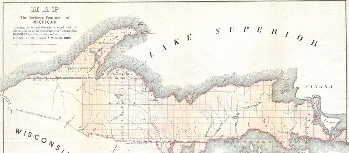 1849 land survey map of the Upper Peninsula