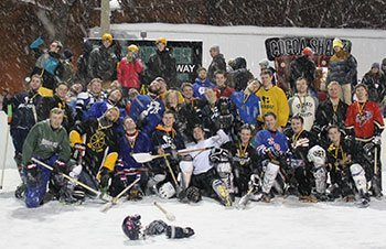 Group of broomball players.