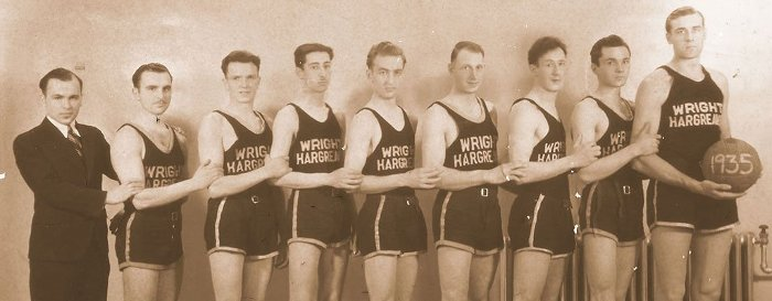 Paul Young (center) with his 1935 Wright Hargreaves Mining Company basketball team. Young was the first of four generations to attend Tech.