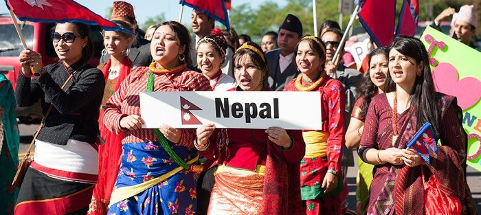 The Nepal representatives in the Parade of Nations.