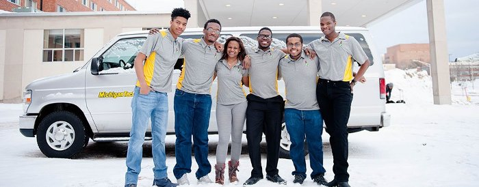 National Society of Black Engineers members Matthew Alexander, Stuart Liburd, Rebecca Spencer, Emeka Esemonu, Jalen Beck, and Bruce Brunson.