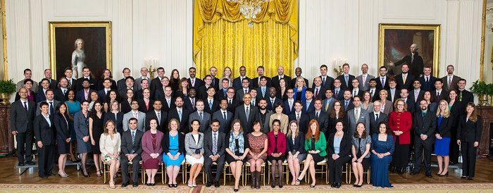 Colleen Mouw joins fellow PECASE award recipients at a White House awards ceremony.