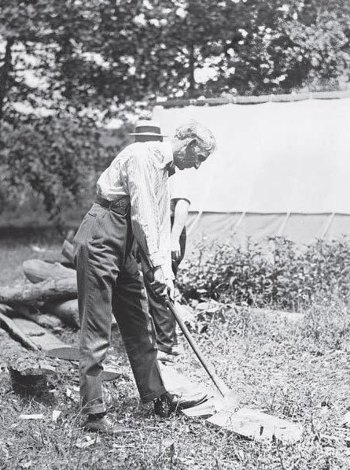 Historical image of Henry Ford chopping wood with an ax.