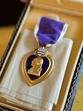John's purple heart medal.