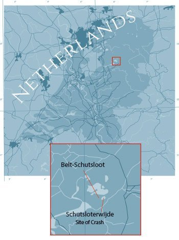 Netherlands map highlighting where John bailed out.