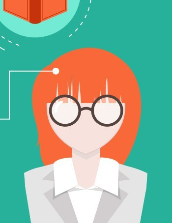 Illustrated female with red hair and glasses.