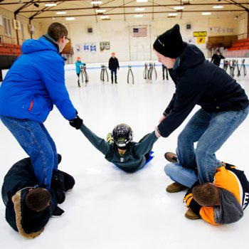 Students ice bowling.
