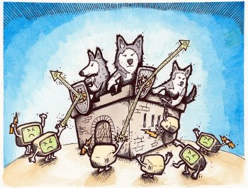 Drawing of computers attacking a castle with huskies in it.