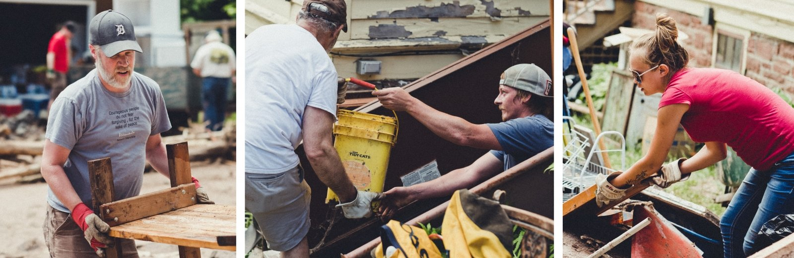 Volunteers helping clean up after the flood.