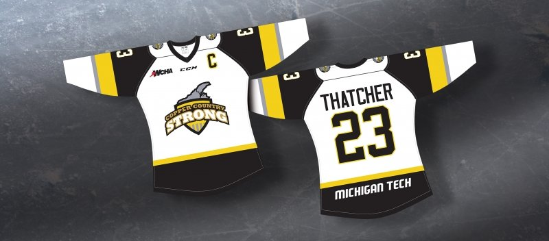 Mock up of a jersey with the Copper Country Strong logo and Thatcher's name.