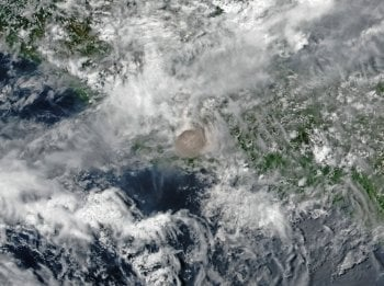 Satellite view showing the eruptive cloud.
