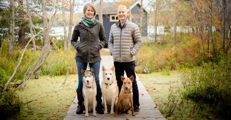 Lynn and Jason Makela with their three dogs.