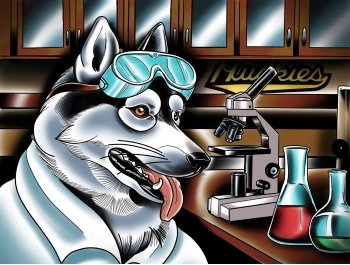 Illustration of husky in a lab wearing safety gear.