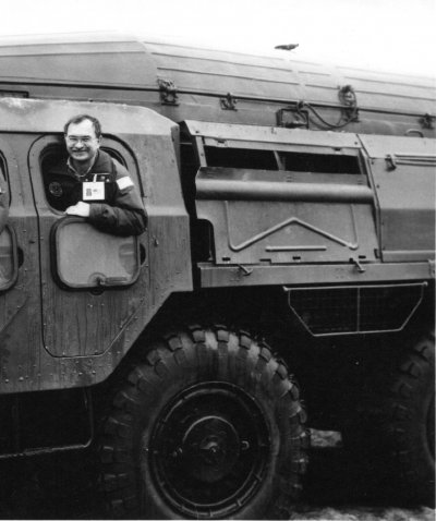 Steve Pribish in a military vehicle.