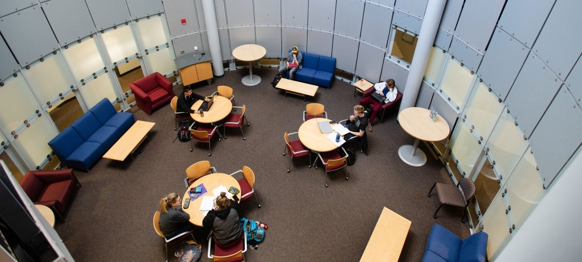 Student studying in the Rekhi Hall lounge.