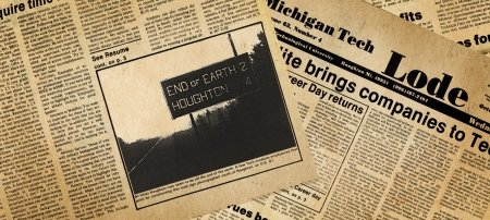 Yellowed newspaper pages from the Michigan Tech Lode.