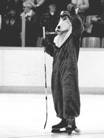 Photo of Michigan Tech's mascot from the 1980s