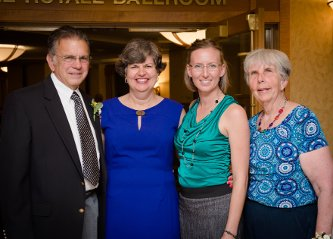 Left to right, Tom Irwin, Marie Cleveland, Jillian Rothe, and Martha Sloan gather at the 2014 Alumni Awards Banquet. George and Susan Robinson are not pictured
