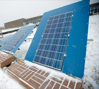 Solar panels in the winter.