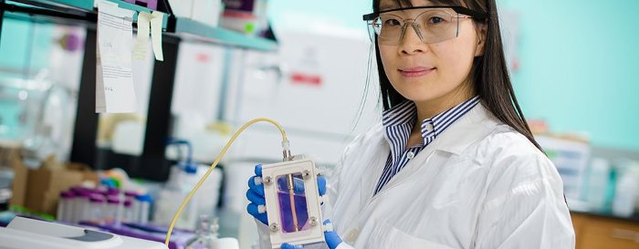 In her biomedical engineering lab, Feng Zhao stitches fibroblast cells into scaffolding?a process that, down the road, may help folks heal better after heart surgery