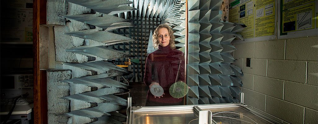 Elena Semouchkina, an associate professor of electrical and computer engineering, runs tests in a foam-lined anechoic chamber that helps isolate and control microwaves used to cloak objects.