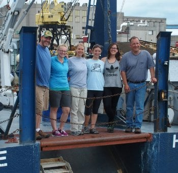 Barnard (left) and the University-National Oceanographic Laboratory System (UNOLS) team on the deck of the R/V Blue Heron.