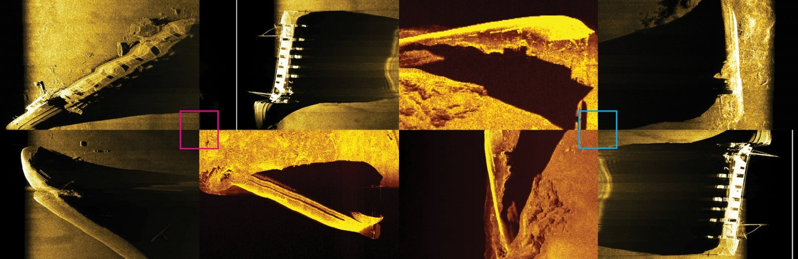 Black and gold colored sonar pictures of shipwreck ruins with shadows, squares, rectangles, sticks and irregularly shaped pieces of boats.