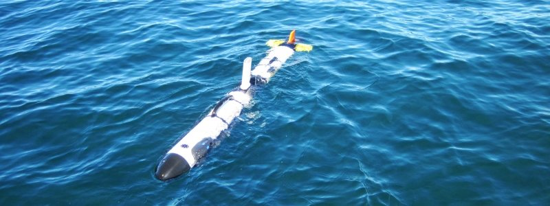Underwater autonomous vehicle floating at the surface of the water.
