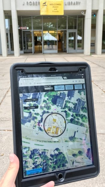 TIme Traveler map shown on a tablet.