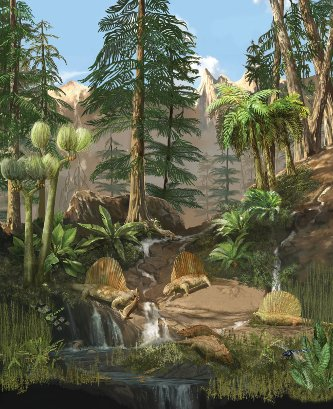Dimetrodons feed near a river in this Permian scene. Millions of years before the dinosaurs, they and most other forms of life were wiped out in the largest mass extinction in Earth's history. Illustration by Karen Carr