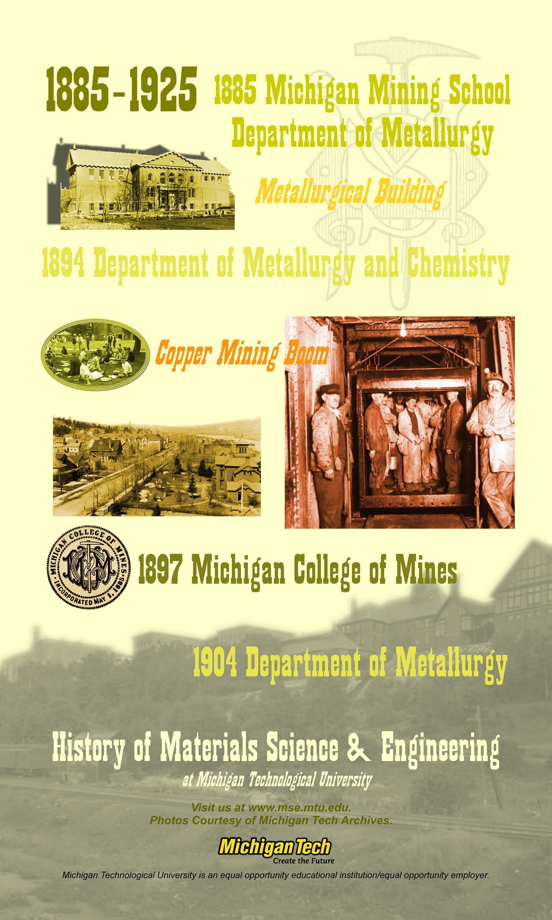1885 1925 Department Of Metallurgy And Chemistry
