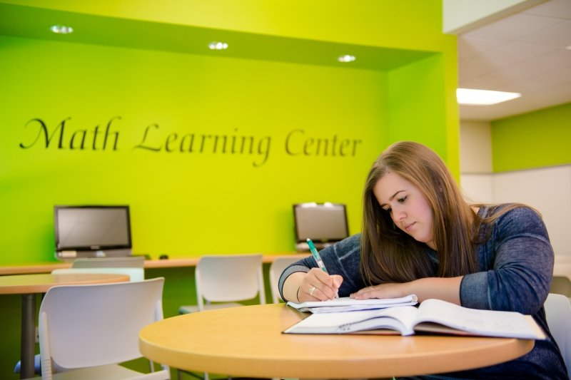 Student studying in the Math Learning Center