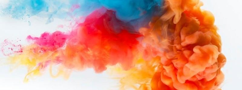 colored smoke billowing upwards