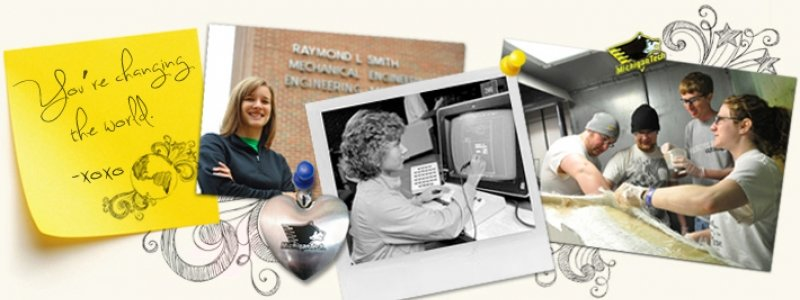 Collage with women representing different eras of mechanical engineering