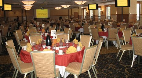 Memorial Union ballroom with tables set for dinner
