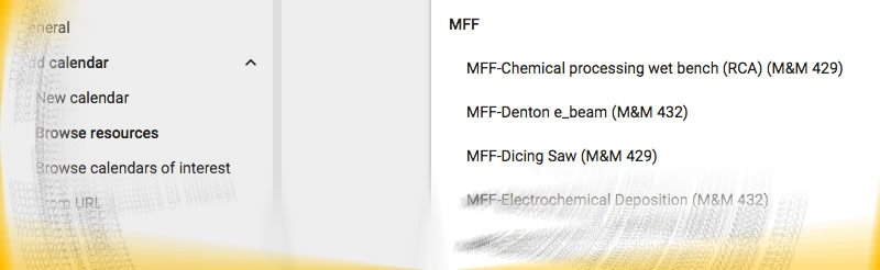 A snapshot of Google Calendar showing MFF resources