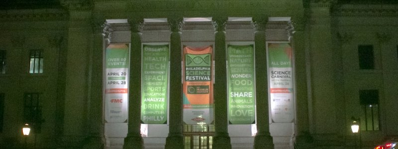 Advertising banner for a Science and Engineering Festival in Philadelphia.