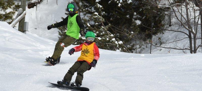 Snowboarding at Mont Ripley.