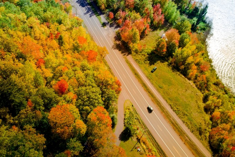 Aerial view of a car driving on a road in the fall.