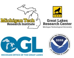 Sponsors include Michigan Tech Research Institute, Great Lakes Research Center, Michigan Office of the Great Lakes, and NOAA.