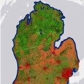 Land covermap of lower Michigan.