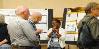 The poster session, sponsored by the Graduate Student Government had a record number       of students presenting.
