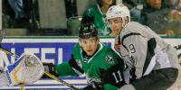 From left, former Michigan Tech teammates Joel L'Esperance and Mitch Reinke play against       against each other in an AHL game earlier this season. The former Huskies are still       alive in the Stanley Cup Playoffs. (Photo courtesy of the Texas Stars)