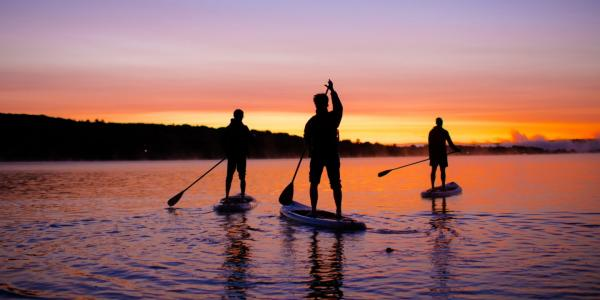 From the lab to the lake. A Prince's Point sunrise is one of Michigan's natural wonders—and       Huskies can 3D print the paddles to get there.