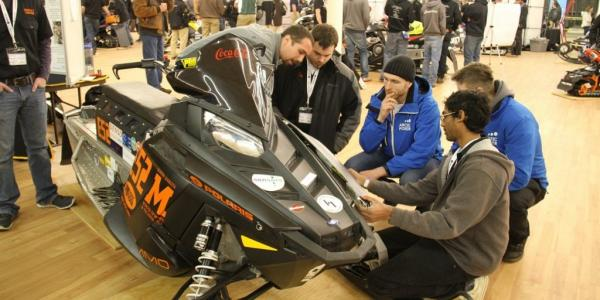 The student teams start off with standard modern sleds and then take apart, modify       and build a sled with reduced emissions and noise.