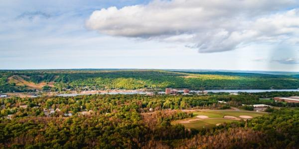Michigan Tech is in the Keweenaw Peninsula, which resides in Anishinaabe homelands       and ceded territory established in the Treaty of 1842.